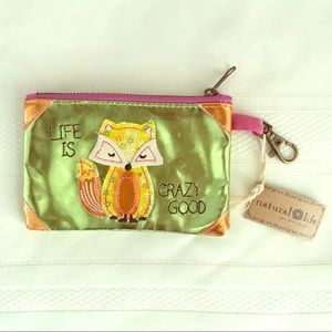 Natural Life ID wallet wristlet Fox life new